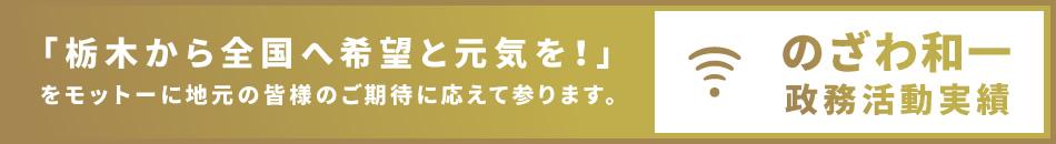 「栃木から全国へ希望と元気を!」をモットーに地元の皆様のご期待に応えて参ります。のざわ和一 政務活動実績